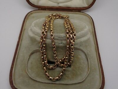 Victorian 9ct gold faceted belcher link chain & barrel clasp 20.75 inches 9.2g