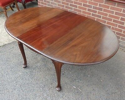 Edwardian antique Gillows solid mahogany Queen Anne extending dining table for 8