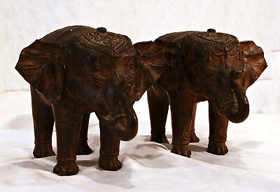 """Vintage or Anrique Pair Chinese Bronze Elephant  Statues - 8"""""""