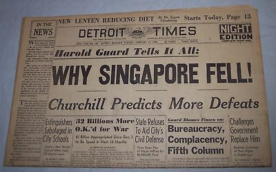 Detroit Times newspaper February 17 1942 Why Singapore Fell / Winston Churchill