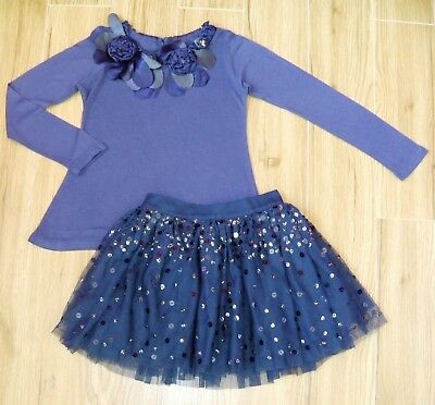 Next Girls Navy Blue Sequin Party Top & Skirt 4-5-6 Years Christmas Dress Gold