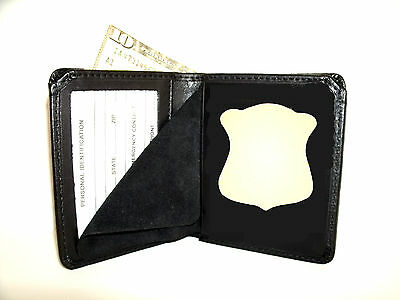 Boston Police Badge & ID Wallet B-562 Recessed badge cut out Leather CT-06