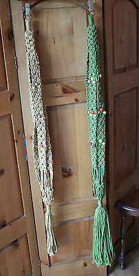 Vintage Handmade Macrame Yellow Ochre & Green Hanging Plant Holders Beaded 70's