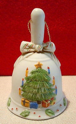 Vintage Miniature Ceramic Bisque Christmas Bell Ornament Candles Gifts Tree 3""