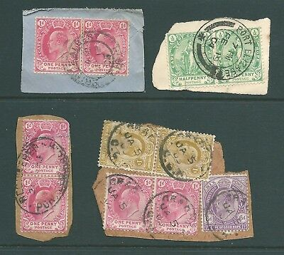 CAPE OF GOOD HOPE - 4 Edwardian pieces - multi-frankings and postmarks