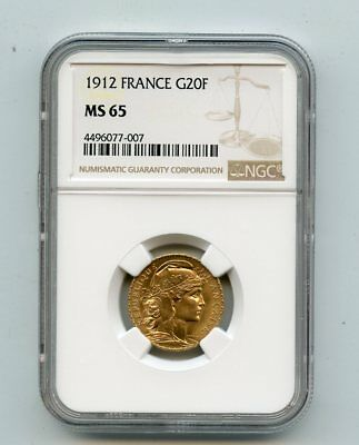 1912 France 20 Francs Rooster .900 Fine Gold Coin (MS65) NGC