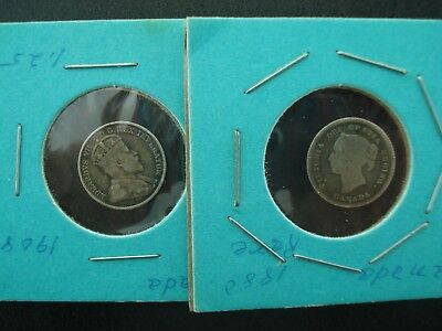 1880 & 1908 Canadian 5c Silver Coins **NO RESERVE**