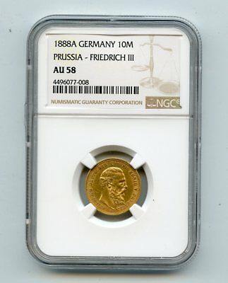 1888A Germany Prussia Friedrich lll 10 Mark Gold Coin (AU58) NGC
