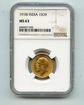 1918I India 1 Sovreign Gold Coin (MS63) NGC