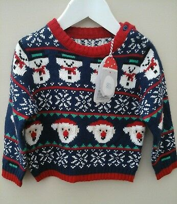 baby boy christmas nordic santa/snowman Mothercare jumper, age 9 -12 months, new