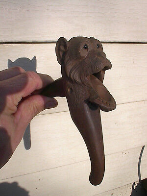 SCARCE OLD 1890s ANTIQUE CARVED WOOD MONKEY NUTCRACKER