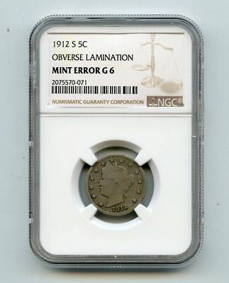 1912-S Liberty Head Nickel Obverse Lamination ( G 6 Mint Error) NGC