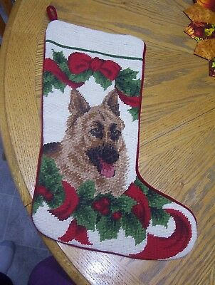 GERMAN SHEPHERD Dog Needlepoint Christmas Stocking Vintage ? Great cndtn
