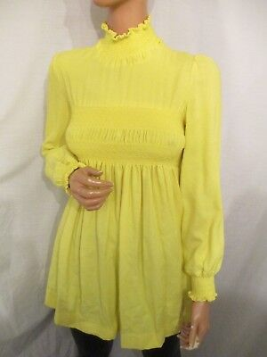 VINTAGE 1960s UK:10 YELLOW SMOCK SMOCKED BABYDOLL LOLITA MOD DRESS SCOOTER MINI