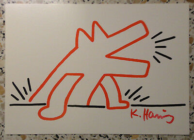 """Keith Haring, original Autogramm, signiert, signed, """"RED DOG FOR LANDOIS"""""""