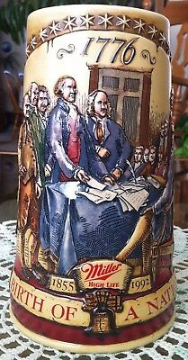 Birth Of A Nation 1776 MILLER High Life 1855-1992 STEIN Mug Beer CUI, Inc
