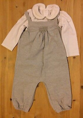 Little White Company Baby Girl Dungarees With Top 9-12 Months