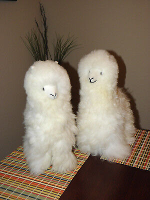 "2 New Handmade By Our Artisan In Peru 19 - 20"" Standing Plush Alpaca ""White"""