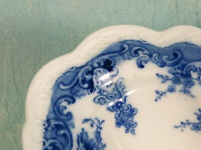 VERY RARE SUPERB ANTIQUE FLOW BLUE WEDGWOOD&CO OPEN Pedestal Bowl Stoke-on-Trent
