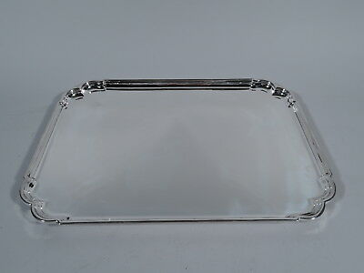 Traditional Salver - Georgian Rectangular Tray - English Sterling Silver - 1957