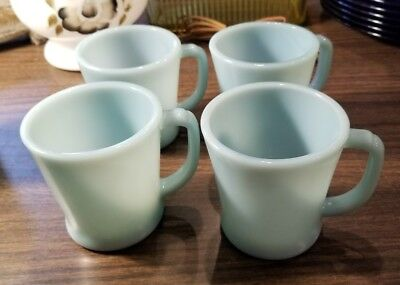 4 x vintage Fire King Oven Ware Delphite Blue Milk Glass D Handle Coffee Cup mug