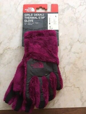 The North Face Girls Denali Thermal Etip Glove Roxbury Pink Size LG Brand NWTS