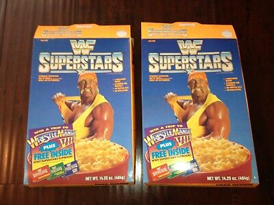 1991 Vintage WWF SUPERSTARS Hulk Hogan CEREAL BOX lot 2 w/ Premiums RARE empty