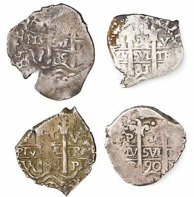 Potosi, Bolivia, Silver Cob 1 Reales Study Group (4 Coins) 1681-90, Nice Details