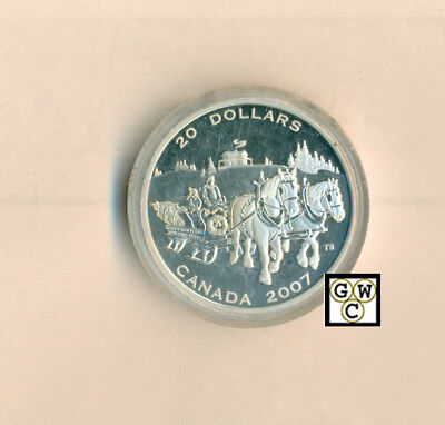 2007 Holiday Sleigh Ride Proof $20 Silver 1oz .9999 Fine (OOAK) (12209) (NT)