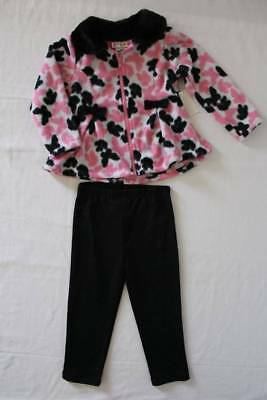 NEW Baby Girls 2p Set 18 Month Pink Butterflies Zip Coat Stretch Pants Outfit