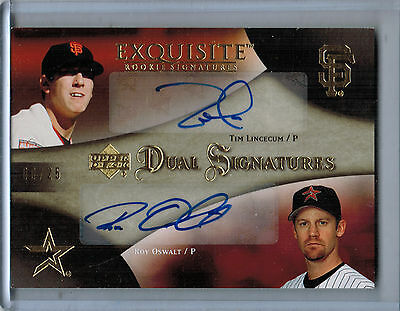 2007 Exquisite Collection Gold TIM LINCECUM/ROY OSWALT Autograph #08/24 (5476)