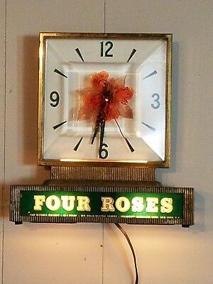 Vintage Four Roses Whiskey Lighted Clock USA Electic Works 1950's