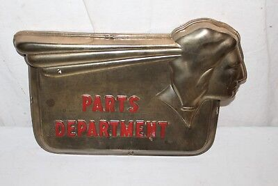 "Vintage 1950's Pontiac Parts Department Car Dealership Gas Oil 21"" Embossed Sign"