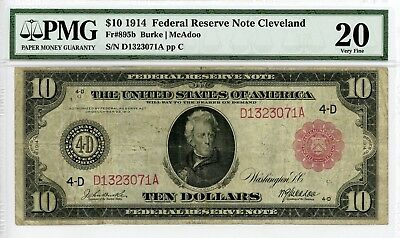 1914 Fr.895b $10 United States (Cleveland, OH) Federal Reserve Note - PMG VF 20