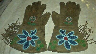 ANTIQUE c. 1880-1920 PLAINS NATIVE AMERICAN INDIAN BEADED LEATHER GLOVES vafo