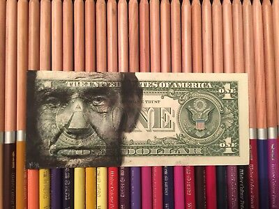 Abraham Lincoln $2 Hobo Dollar One Two Dollar Bill Original Art Real Money