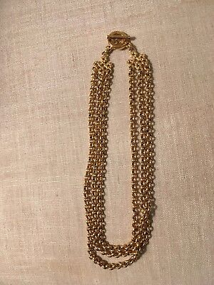 Vintage Nina Ricci 3 strand gold chain necklace