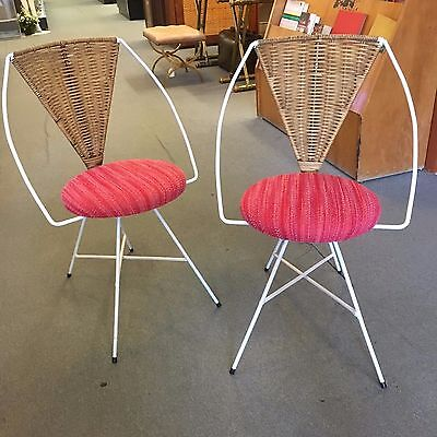 PAIR of Arthur Umanoff for Shaver-Howard Iron Framed Cafe Chairs c1960s