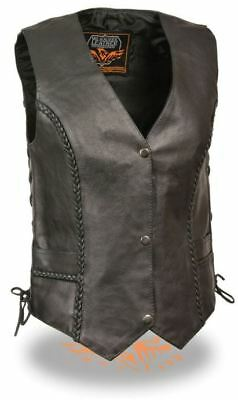 Milwaukee Leather Womens Braided Side Lace Vest Black