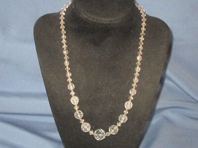 Vintage Single Strand Clear Crystal Bead On Chain Necklace