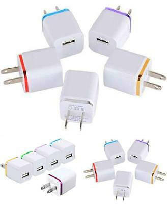 One Port 1A USB AC Power Adapter Pack of 5 Multi-Color Assorted Colors 2DAY SHIP