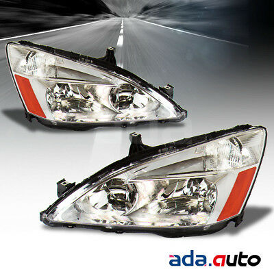 For 2003 2004 2005 2006 2007 Honda Accord [Factory Style] Chrome Headlights  Set