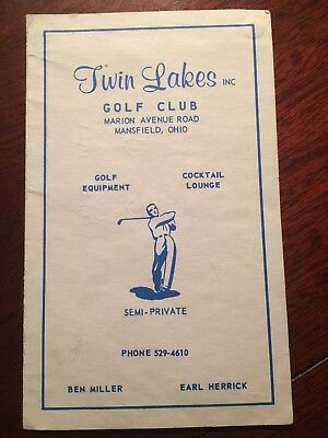 Twin Lakes GC Scorecard - Mansfield, OH - Used - 40+ Years Old