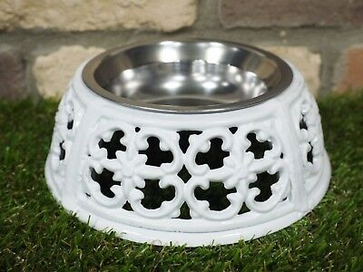 Dog Cat Pet Bowl Cast Iron Cream Finish  Feeding Bowl Food Or Water Bowl