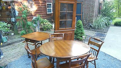 Hitchcock Paint Style Dining Room Set / Table, Chairs, Tea Cart & Hutch / NICE