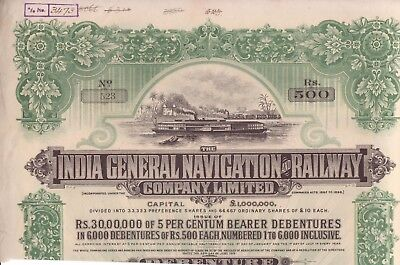 1915 India General Navigation and Railway Co bond