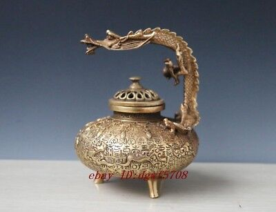 Chinese Vintage Handwork Bronze Carved Dragon Incense Burners