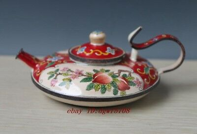 Chinese beautiful bronze cloisonne teapot painting Flower beautiful Teapot