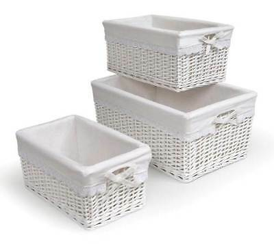 Badger Basket 3 Pc Nursery Baskets w Liners in White [ID 8203]
