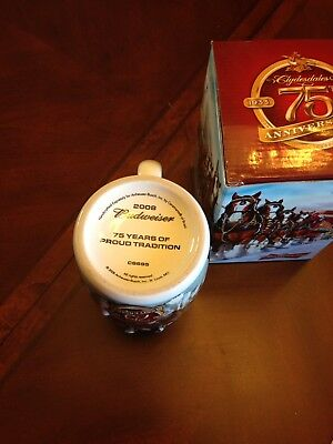 2008 Budweiser Holiday Beer Stein 75th Anniversary With Box And Paperwork